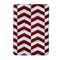 Chevron2 White Marble & Red Wood Samsung Galaxy Tab 2 (10 1 ) P5100 Hardshell Case  by trendistuff