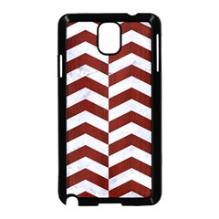 Chevron2 White Marble & Red Wood Samsung Galaxy Note 3 Neo Hardshell Case (black) by trendistuff