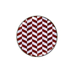Chevron1 White Marble & Red Wood Hat Clip Ball Marker by trendistuff
