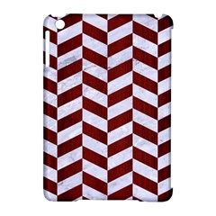 Chevron1 White Marble & Red Wood Apple Ipad Mini Hardshell Case (compatible With Smart Cover) by trendistuff