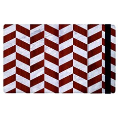 Chevron1 White Marble & Red Wood Apple Ipad Pro 12 9   Flip Case by trendistuff