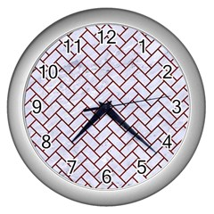 Brick2 White Marble & Red Wood (r) Wall Clocks (silver)  by trendistuff
