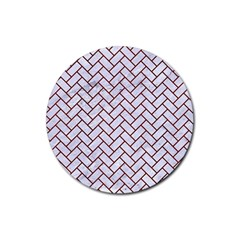 Brick2 White Marble & Red Wood (r) Rubber Coaster (round)