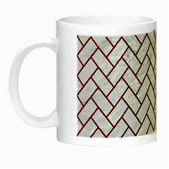 Brick2 White Marble & Red Wood (r) Night Luminous Mugs