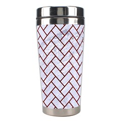Brick2 White Marble & Red Wood (r) Stainless Steel Travel Tumblers by trendistuff
