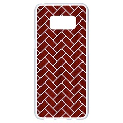 Brick2 White Marble & Red Wood Samsung Galaxy S8 White Seamless Case
