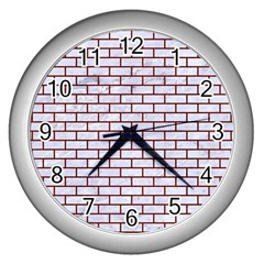 Brick1 White Marble & Red Wood (r) Wall Clocks (silver)  by trendistuff