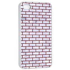 Brick1 White Marble & Red Wood (r) Apple Iphone 4/4s Seamless Case (white) by trendistuff