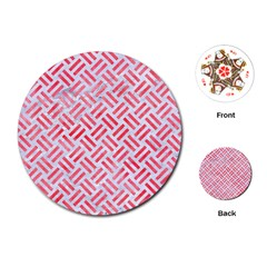 Woven2 White Marble & Red Watercolor (r) Playing Cards (round)
