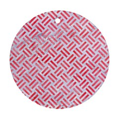 Woven2 White Marble & Red Watercolor (r) Round Ornament (two Sides) by trendistuff
