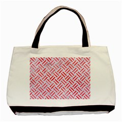 Woven2 White Marble & Red Watercolor (r) Basic Tote Bag (two Sides) by trendistuff