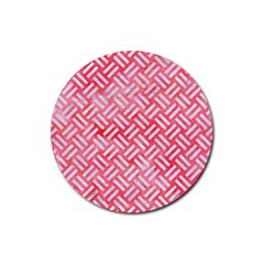Woven2 White Marble & Red Watercolor Rubber Round Coaster (4 Pack)  by trendistuff