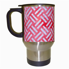 Woven2 White Marble & Red Watercolor Travel Mugs (white) by trendistuff