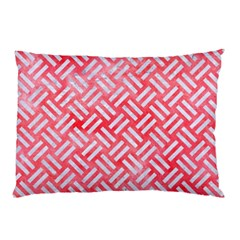 Woven2 White Marble & Red Watercolor Pillow Case by trendistuff