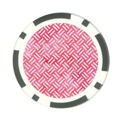 Woven2 White Marble & Red Watercolor Poker Chip Card Guard (10 Pack) by trendistuff