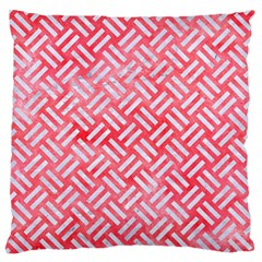 Woven2 White Marble & Red Watercolor Large Flano Cushion Case (one Side) by trendistuff