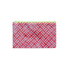 Woven2 White Marble & Red Watercolor Cosmetic Bag (xs) by trendistuff