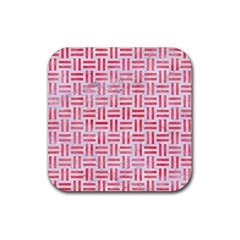 Woven1 White Marble & Red Watercolor (r) Rubber Square Coaster (4 Pack)  by trendistuff