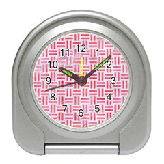 Woven1 White Marble & Red Watercolor (r) Travel Alarm Clocks by trendistuff