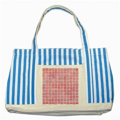 Woven1 White Marble & Red Watercolor (r) Striped Blue Tote Bag by trendistuff