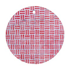 Woven1 White Marble & Red Watercolor (r) Round Ornament (two Sides) by trendistuff