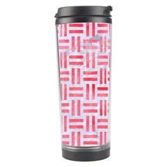 Woven1 White Marble & Red Watercolor (r) Travel Tumbler by trendistuff