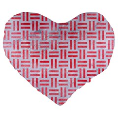 Woven1 White Marble & Red Watercolor (r) Large 19  Premium Flano Heart Shape Cushions by trendistuff