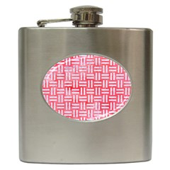 Woven1 White Marble & Red Watercolor Hip Flask (6 Oz) by trendistuff
