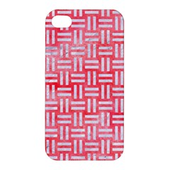 Woven1 White Marble & Red Watercolor Apple Iphone 4/4s Hardshell Case by trendistuff