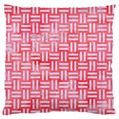 Woven1 White Marble & Red Watercolor Standard Flano Cushion Case (one Side) by trendistuff