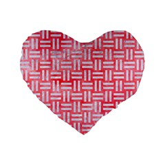 Woven1 White Marble & Red Watercolor Standard 16  Premium Flano Heart Shape Cushions by trendistuff