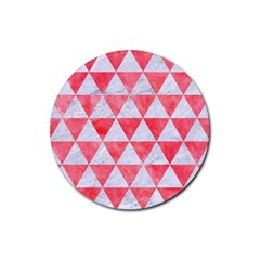 Triangle3 White Marble & Red Watercolor Rubber Round Coaster (4 Pack)  by trendistuff