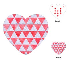 Triangle3 White Marble & Red Watercolor Playing Cards (heart)  by trendistuff