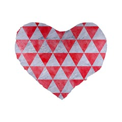 Triangle3 White Marble & Red Watercolor Standard 16  Premium Flano Heart Shape Cushions by trendistuff