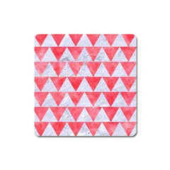 Triangle2 White Marble & Red Watercolor Square Magnet by trendistuff