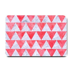 Triangle2 White Marble & Red Watercolor Small Doormat  by trendistuff