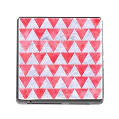Triangle2 White Marble & Red Watercolor Memory Card Reader (square) by trendistuff