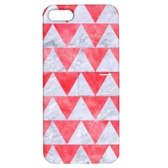 Triangle2 White Marble & Red Watercolor Apple Iphone 5 Hardshell Case With Stand by trendistuff