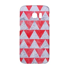 Triangle2 White Marble & Red Watercolor Galaxy S6 Edge by trendistuff