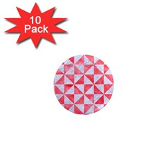 Triangle1 White Marble & Red Watercolor 1  Mini Magnet (10 Pack)  by trendistuff