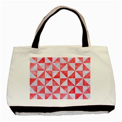 Triangle1 White Marble & Red Watercolor Basic Tote Bag (two Sides) by trendistuff