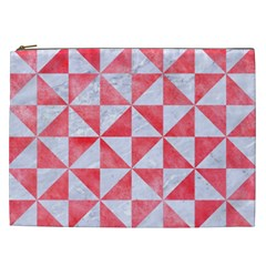 Triangle1 White Marble & Red Watercolor Cosmetic Bag (xxl)  by trendistuff
