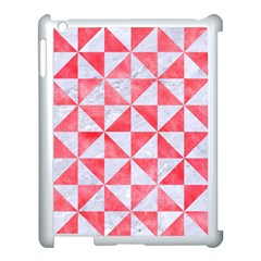 Triangle1 White Marble & Red Watercolor Apple Ipad 3/4 Case (white) by trendistuff