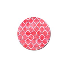 Tile1 White Marble & Red Watercolor Golf Ball Marker (4 Pack) by trendistuff