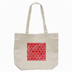 Tile1 White Marble & Red Watercolor Tote Bag (cream) by trendistuff