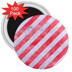 Stripes3 White Marble & Red Watercolor (r) 3  Magnets (100 Pack) by trendistuff