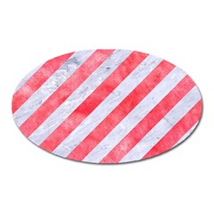 Stripes3 White Marble & Red Watercolor (r) Oval Magnet