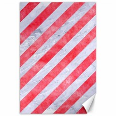 Stripes3 White Marble & Red Watercolor (r) Canvas 12  X 18   by trendistuff