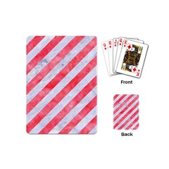 Stripes3 White Marble & Red Watercolor (r) Playing Cards (mini)  by trendistuff