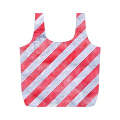 Stripes3 White Marble & Red Watercolor (r) Full Print Recycle Bags (m)  by trendistuff